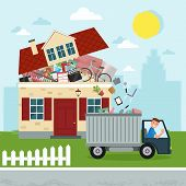 The Concept Of Excessive Consumerism. House Bursting Of Stuff. Throwing Away Things From House. Junk poster