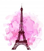 Pink Watercolor Romantic Valentine Background With Eiffel Tower And Butterfly. Vector Illustration. poster