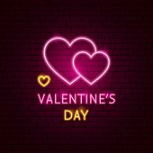 Valentines Day Neon Label. Vector Illustration Of Romance Promotion. poster