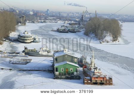 poster of Frozen River Volga And Samara City In Russia In Winter