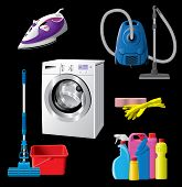 stock photo of cleaning agents  - Set of house cleaning and hygiene equipment - JPG