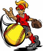 stock photo of softball  - Softball Tournament Art of a Fastpitch Ball Thrown by Fast Pitch Softball Pitcher Cartoon Vector Illustration - JPG