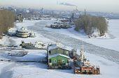 Frozen River Volga And Samara City In Russia In Winter poster