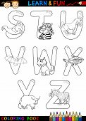 stock photo of animal x-ray  - Cartoon Alphabet Coloring Book or Page Set with Funny Animals for Children Education and Fun - JPG