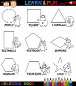 stock photo of trapezoid  - Cartoon Coloring Book or Page Illustration of Basic Geometric Shapes with Captions and Animals Characters for Children Education - JPG