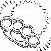 image of brass knuckles  - Doodle style brass knuckles weapon illustration with movement marks - JPG