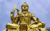 stock photo of mahadev  - Huge majestic towering statue of Deity Shankar in Bangkok - JPG