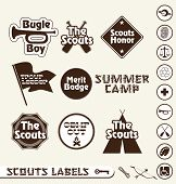 foto of boy scout  - Collection of retro style boy scouts labels badges and stickers - JPG