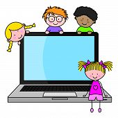 stock photo of informatics  - children with a computer - JPG