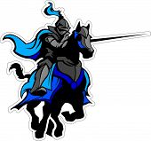 stock photo of jousting  - Knight with armor riding a horse and Jousting - JPG