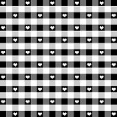 Seamless Gingham and Hearts Pattern, Black and White