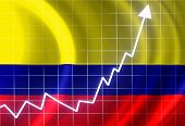 stock photo of colombian currency  - Colombian flag waving in the wind - JPG