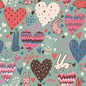 Romantic seamless pattern with cute rabbits in love and big hearts. Vector floral endless background