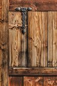 Antique Rustic Pine Wooden Door With Wrought Iron Hinge