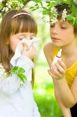foto of nasal catarrh  - Little girl is blowing her nose brother gives her nasal spray