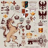 picture of queen crown  - Vector set of luxury royal vintage elements for your heraldic design - JPG