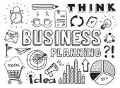 stock photo of pen  - Hand drawn vector illustration set of business planning doodles elements - JPG