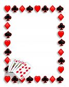 foto of playing card  - Playing Cards suits background border or frame for card poker game invitation template with copy space - JPG