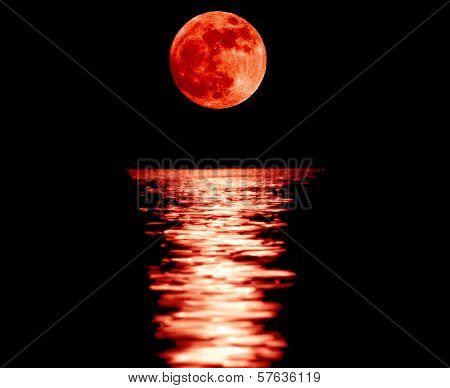 Full Red Moon With Reflection poster