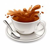 stock photo of chocolate spoon  - Hot chocolate splash in white cup on white background - JPG