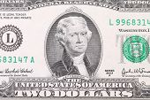 stock photo of two dollar bill  - Closeup of two dollar bill - JPG