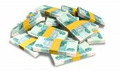 Постер, плакат: Ruble Notes Scattered Pile