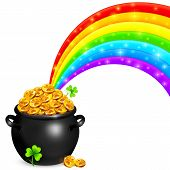 stock photo of triskele  - Pot of gold with magic rainbow and clovers - JPG