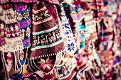 foto of lame  - Winter cap, hand made on market inin Peru