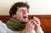 stock photo of sneezing  - Man with sinus infection sneezing in bed - JPG