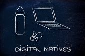 stock photo of ebusiness  - conceptual design of the digital native the generations born in the internet age - JPG