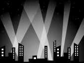 pic of city silhouette  - City silhouette over black background - JPG