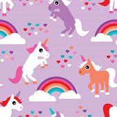 foto of unicorn  - Seamless violet rainbow and dancing unicorn love kids background pattern print in vector - JPG