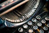 stock photo of typewriter  - Types of Vintage Typewriter Machine Closeup - JPG