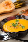 pic of butternut  - Hot delicious pumpkin soup in a bowl - JPG