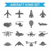 stock photo of aeroplane symbol  - Aircraft helicopter military aviation airplane black icons set isolated vector illustration - JPG