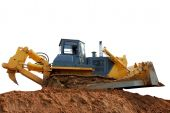 image of ripper  - heavy bulldozer with ripper on the ground over white - JPG