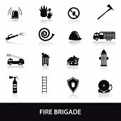stock photo of fire brigade  - 16 types of fire brigade icons set eps10 - JPG