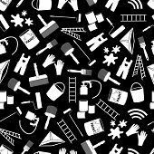 picture of color spot black white  - paint icons black and white seamless pattern eps10 - JPG
