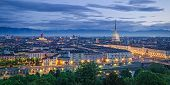 stock photo of torino  - Turin (Torino) high definition panorama at twilight ** Note: Visible grain at 100%, best at smaller sizes - JPG