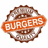 foto of burger  - Burgers grungy stamp isolated on white background - JPG