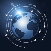 stock photo of transcontinental  - aviation background airplanes flying over the globe - JPG
