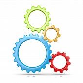 stock photo of four-wheel  - Four Plastic Colorful Gears Engaged 3D Illustration Isolated on White Background - JPG