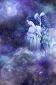 stock photo of guardian  - Deep space blue background with Guardian Angel amongst clouds looking down with thoughtful expression - JPG