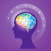 foto of cerebrum  - Human brain idea geometric info graphics design - JPG