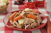 stock photo of pot roast  - Turkey pot roast with carrots and potatoes - JPG