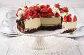 image of pie-in-face  - strawberry cheese cake - JPG