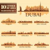 stock photo of city silhouette  - Set of skyline cities silhouettes - JPG