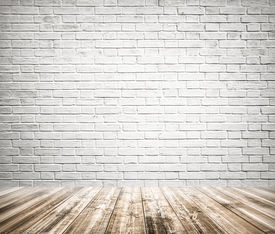 stock photo of motif  - Background of age grungy texture white brick and stone wall with light wooden floor with whiteboard inside old modern and contemporary empty interior - JPG