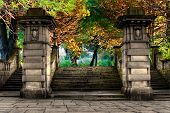 picture of staircases  - Elegant sandstone staircase entrance to colorful park - JPG