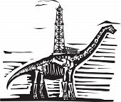stock photo of apatosaurus  - Woodcut style image of a fossil of a brontosaurus apatosaurus dinosaur with an oil well on its back - JPG